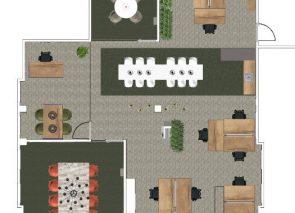 Kantoorontwerp designstudio 2d en 3d ontwerpen