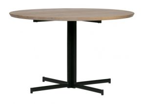 VT Wonen Panel round tafelblad eiken met cross 4-poot