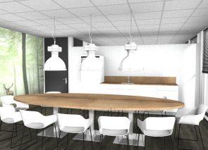 3D inzicht kantine met wallvisual