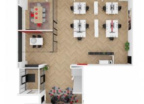 Bovenaanzicht ontwerp in 3D van de nieuwe kantoorinrichting van Gielissen