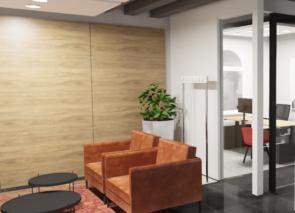 3D inpressie om de klant een indruk te geven wat de mogelijkheden in kantoorinrichting kunnen zijn