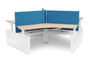 Voortman Tripple werkplek - 3 persoons sta zit bureau waarbij alle werplekken los van elkaar te verstellen zijn