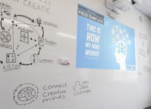 Chameleon whiteboard maatwerk projectie wand