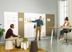 Geef uw Modular whiteboard kleur door de combinatie met deze PET-vilt panelen,