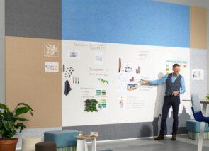 PET-vilten prikborden die gecombineerd kunnen worden met Chameleon Modular Whiteboard panelen. Het PET-vilt draagt bij aan een verbeterde akoestiek in een ruimte.